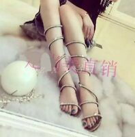 Hot Womens Flat Heel Summer Sandals Ladies Sequins Rhinestone Shoes UK Size New
