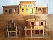 Vintage Wooden Western Town, Set of 5, Made in German Democratic Republic