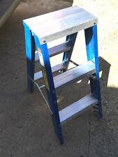 Double side sided Fiberglass Step Ladder 3 step ft 120 KG Blue -Brand New