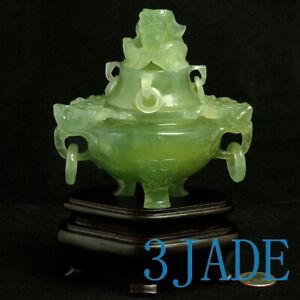 Hand Carved Natural Translucent Xiu Jade / Serpentine Chinese Censer / Art