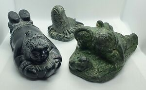 THREE ESKIMO INNUIT SOAPSTONE FIGURINES WOLF ORIGINALS + AARDVARK ORIGINAL?