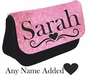 Personalised girls ladies Name Pencil Case make up bag school pink birthday gift
