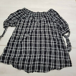YOURS Flannel Summer Top Size 26-28 Black Plaid Stretch Short Sleeve Casual