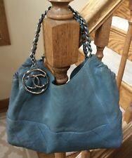 Authentic CHANEL Coco Cabas Distressed Slate Blue Tote Satchel Shoulder Handbag
