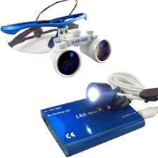 NEU Dental Lupenbrille Kopflupe Brillenlupe 3.5x420mm+ Headlight lampe Blau DE