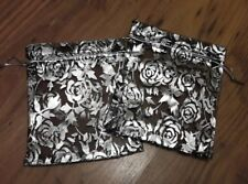 SILVER ROSES BLACK ORGANZA BAG X 2 - 10cm by 12cm - Lovely for small gifts!