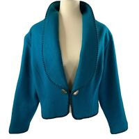 Women's Vintage Wool Western Bolero Jacket Concho Buttons Large Teal Cowgirl