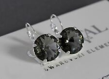 Silver Plated Black Diamond Rivoli Leverback Earrings-Swarovski Crystal Elements