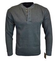 Marino Bay Mens Henley Thermal Long Sleeve Shirt Button Up Double Neck NEW