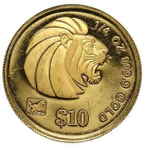 Singapore, 10 Dollars, 2002, Horse Privy Mark, 1/4 oz. of .999 Gold
