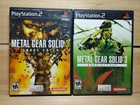 Metal Gear Solid 3 Snake Eater & Subsistence PS2 Video Game Lot Tested No Disc 2