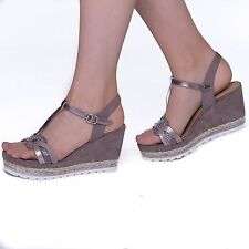 WOMENS LADIES HIGH WEDGE HEEL DIAMANTE STRAPPY PLATFORM SANDALS ESPADRILLES SIZE