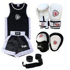 Kids Boxing Set of 4 boxing Uniform + boxing Glove 1011 + Focus Pad 1103 + Wrap