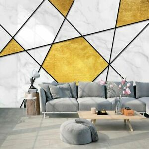 3D Marble Effect Gold Geometric Wall Mural Wallpaper Living Room Bedroom Lounge