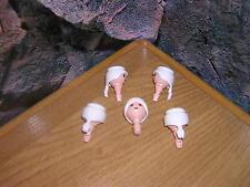 A 9/16 5 x Têtes blanc Cheveux avec Tresse Garde Soldats ACW Pirates Western