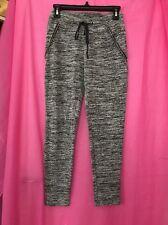 Used Women's Lounge Trousers Grey Black Diamond Embellishment Size 10 Stretchy