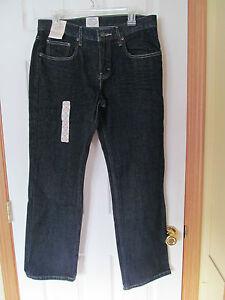 NWT Mens St. Johns Bay Dark Rinse Straight Fit Blue Jeans W32 L 30