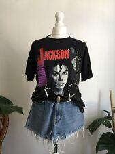 VINTAGE Michael JACKSON Tour 88 1988 NERO CATTIVO T Shirt L 12 14 16 PRIMAVERA Ford