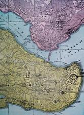 CONSTANTINOPLE & NAPLES ITALY CITY STREET MAP 1894 VINTAGE CRAM'S ATLAS PAGE