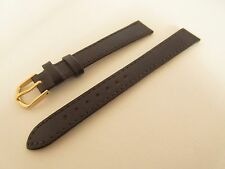 CONDOR LONG BROWN CALF GRAIN LEATHER 14MM WATCH STRAP BAND GOLD BUCKLE