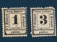 1870-71 BAVARIA POSTAGE DUE STAMPS J2-J3, UNUSED HINGED