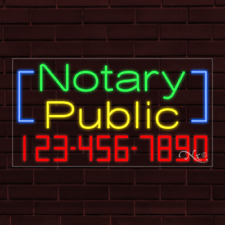 """New """"Notary Public"""" w/Your Phone Number 37x20x1 Inch Led Flex Indoor Sign 35086"""