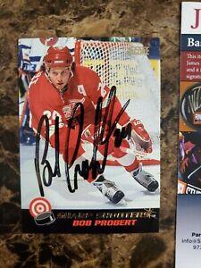 1992 Score Sharp Shooters Signed BOB PROBERT Auto JSA COA Red Wings Enforcer