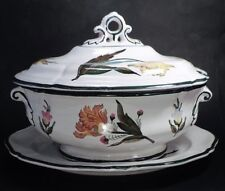 large GRAZIA DERUTA (ITALY) TUREEN WITH LID & UNDERPLATE (MINT!)