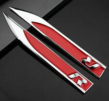 2pcs Auto R R-line Metall Dolch Aufkleber Emblem Schriftzug fürRacing Rote NEU