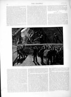 Old Antique Print 1889 Navy Manoeuvres Steam Picket Boat Ship Conqueror 19th