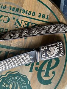 AUTHENTIC MEXICAN WESTERN BELT Size38 cinto charro piteado Hand-braided,Horse