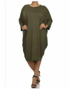 Crew Neck Dress Knee Length with Dolman Sleeves Plus Size 2X