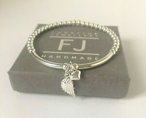 Sterling Silver Beaded Bracelet with Heart Angel Wing Charms, UK Gift for Women