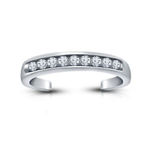 14K White Gold Over Round Diamond Simple Adjustable Fashion Toe Ring 925 Silver