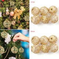 6pcs Christmas Tree Gold Ball Baubles Hanging Party Ornament Xmas Decor 5/6CM Du