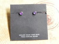 Amethyst & Sterling Silver Round Petite Stud 6mm Earrings Navajo