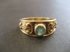 Vintage Handmade Solid 9k Yellow Gold & Blue Topaz Ring 9 carat