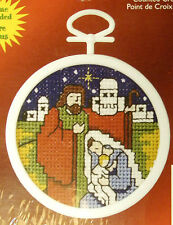 Joseph, Mary & Jesus - Janlynn Cross-stitch Christmas Ornament to do -with frame