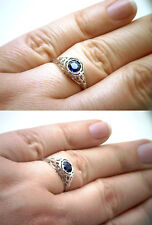 $3025 EGL/UGS CERT .67ct Intense Kashmir Blue Unheated Round Sapphire Deco Ring