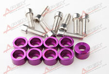 9 PCS PURPLE M8x1.25 HEADER BOLTS BILLET ALUMINUM CUP WASHER KIT FOR HONDA/ACURA