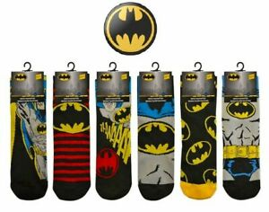 6 Pairs Official Men's DC BATMAN Cartoon Novelty Comic Tv Theme Character Socks