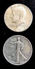 Kennedy Half Dollar Pièce D'Argent 1964 USA + 1943 Liberty