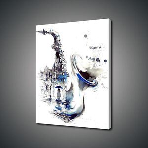 SAXOPHONE JAZZ MUSIC INSTRUMENTS ABSTRACT CANVAS PRINT PICTURE WALL ART