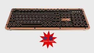 Azio MK-RETRO-L-BT-03-US Retro Classic Bluetooth Artisan Mechanical Keyboard NEW