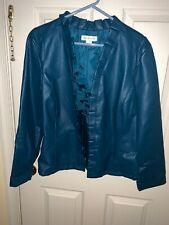 CHRISTOPHER & BANKS Faux Leather Aqua Turquoise Blazer Jacket Coat Sz L ❤️tb9j9