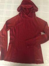 Eddie Bauer Womens M Long Sleeve Hoodie T-Shirt Thumbholes Cotton Blend Red TS9