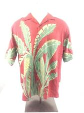 Tommy Bahama Size Lg Dark Red with Green & Yellow Hawaiian100% Silk Button Down