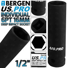 "BERGEN US PRO 16mm Deep Impact Socket 1/2"" Drive 16mm 6 Point Single Hex Impact"