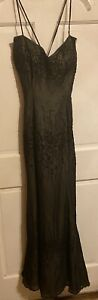 ALYCE Designs 100% Silk Chiffon Mermaid Evening Gown~Illusion Lining~XS/8~EXC