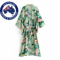 Green Crane Bird Floral Bat Sleeve Boho Kimono Ankle Length Tie Maxi Dress Robe